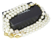 Chanel CHANEL Triple Strand Necklace Faux Pearls/Rhinestones Goldtone
