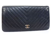 Chanel CHANEL V Stitched Lamb Leather Bifold Long Wallet Black Coco