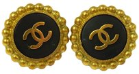 Chanel CHANEL Vintage CC Button Earrings Gold Clip-On France