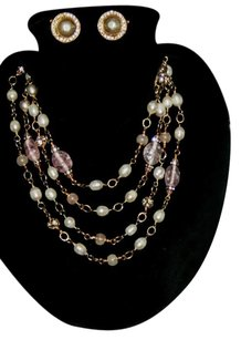Chanel Chanel Vintage Gripoix Pink, Pearl, Crystal, Gold Necklace Sautoir