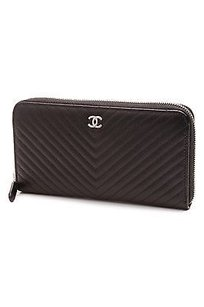 Chanel Chanel Black Chevron Quilted Caviar Leather Zip Around Wallet