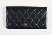 Chanel Chanel Black Lambskin Leather Quilted Silver Tone Cc L Yen Bifold Wallet