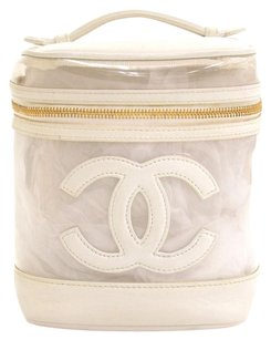 Chanel Chanel White Leather Cosmetic Hand Bag