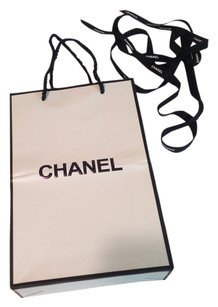 Chanel Chanel white paper bag black logo with ribbon CC wrapping paper & tissue papers