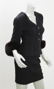 Chanel Chanel Womens Black Wool Fox Cuff Fur Fitted Classic Short Skirt Suit Outfit