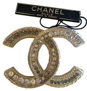 Chanel CHANEL Classic CC GOLD CRYSTAL Brooch Pin