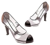 Chanel Transparent Vinyl Transparent, black, silver Pumps