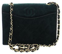 Chanel Gold Suede Green Clutch