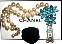 Chanel EXTREMELY RARE: 1970's Authentic Vintage Chanel Gripoix (Poured Glass) Aqua Flowers & Pearl Necklace / Lariat,Crystals / Rhinestones Accents 18kGP