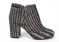 Chanel 14b Pony Hair Chain Zip Up Short Ankle Black / White Boots