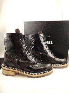 Chanel 15a Chain Patent Black Boots