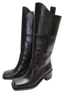 Chanel Dark Calfskin High Brown Boots