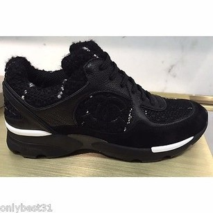 Chanel Tweed Leather Sneakers Black Athletic