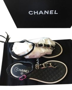 Chanel 15p Chain Quilt Black Sandals