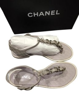Chanel 15p Gray Chain Quilt Blue Sandals