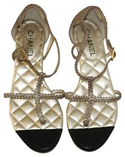 Chanel Gold & Black Sandals