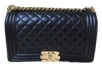 Chanel Gold Gold Hardware Boy Cross Body Bag