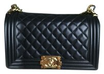 Chanel Gold Gold Hardware Boy Quilted Chain Strap Cross Body Bag