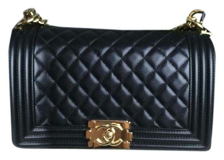 Chanel Pearly Black Quilted Lambskin Leather Boy Cross Body Bag ... : chanel black quilted bag gold chain - Adamdwight.com