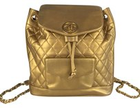 Chanel Gold Metallic Quilted Backpack