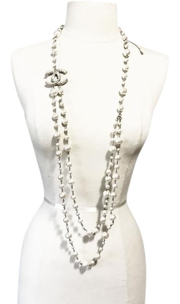 Chanel Gold Twisted Cc 2 Strand Long Faux Pearl Necklace Tradesy