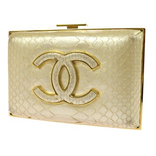 Chanel Hand Leather White, Gold Clutch
