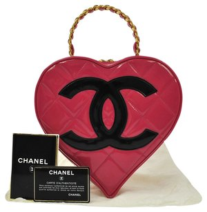 Chanel Heart Quilted Satchel in Pink, Black