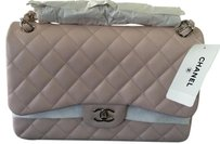 Chanel Jumbo Silver Caviar Shoulder Bag