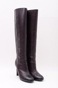 Chanel Dark Lambskin Brown Boots