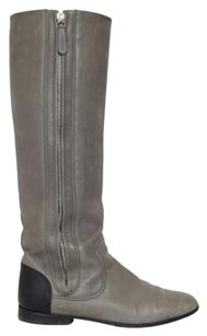 Chanel Cc Classic Black Leather Tall Knee High Riding Flat Gray Boots