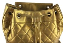 Chanel Rare In Gold Metallic Quilted Leather Backpack