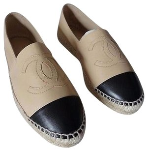 Chanel Leather Espadrilles Beige Flats