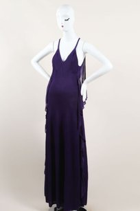 Purple Maxi Dress by Chanel Woven Knit Draped Full Length Sleeveless Halter