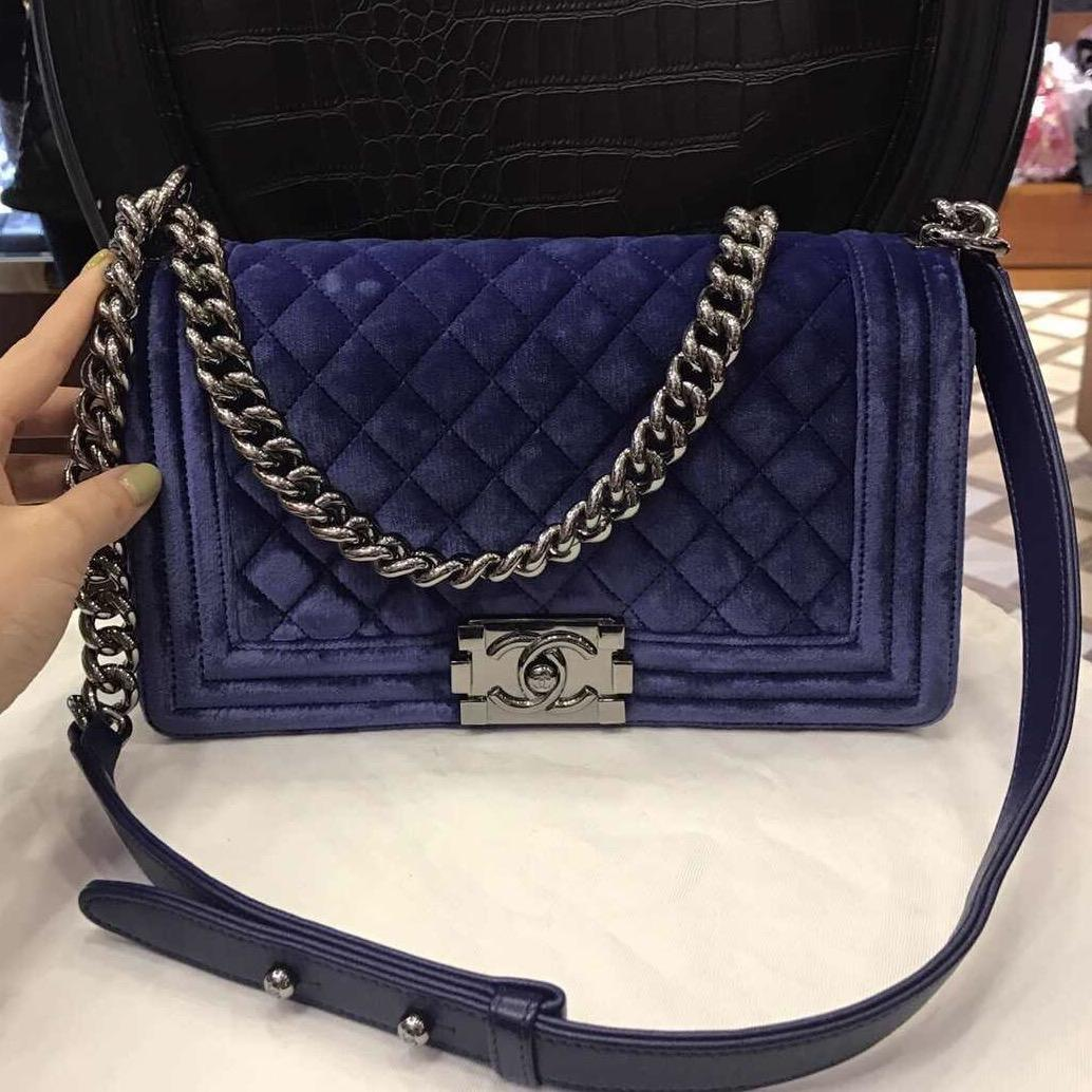chanel medium boy velvet shoulder bag shoulder bags on sale