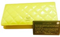 Chanel Neon fluorescent patent leather large Chanel wallet