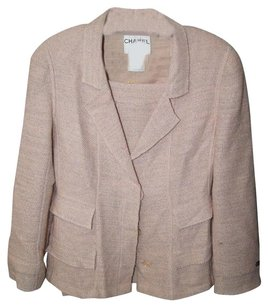 Chanel Peach Tweed Wool Blend Blazer 42