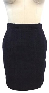 Chanel Boutique Vintage Wool Silk Lined Pencil Skirt Navy
