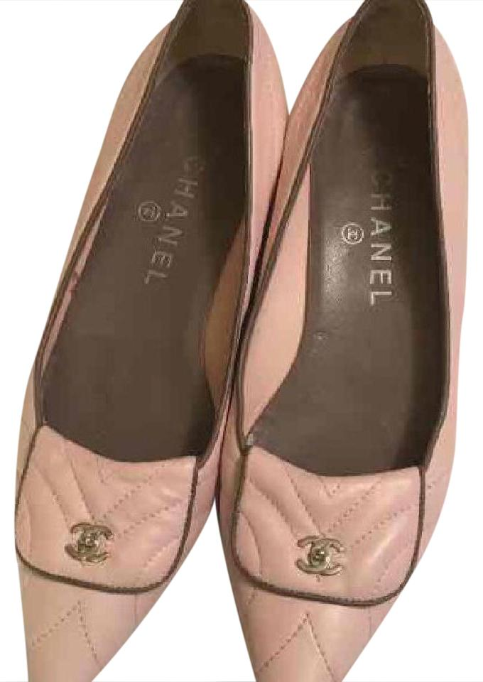 Chanel Pink Leather Flats Cc Logo