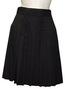 Chanel Wool Pleated Skirt Black