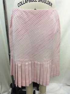 Chanel Stitched Pleated Drop Waist Skirt Pink