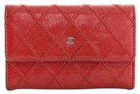 Chanel Quilted Caviar Leather Red Clutch
