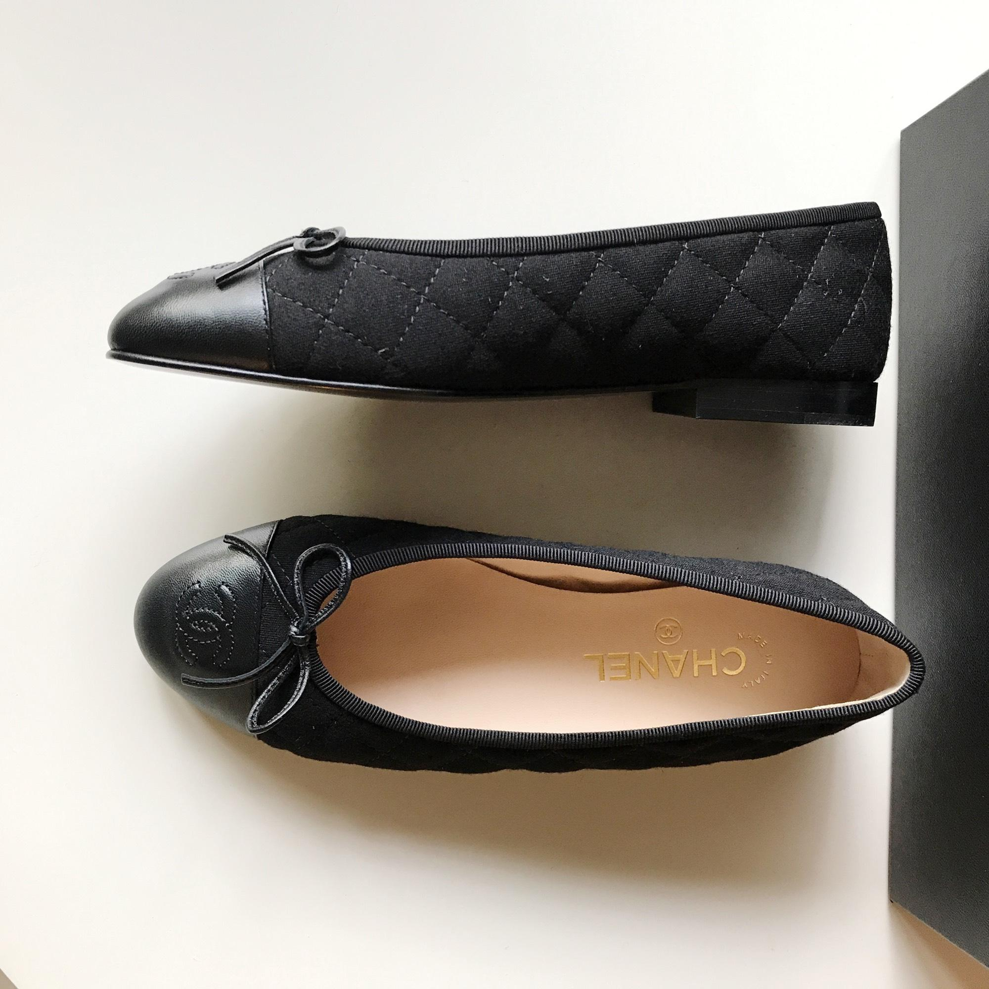 Chanel Black Nib Size 37 5 Quilted Leather Fabric Cap Toe