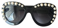 Chanel RARE Runway Chanel Black Cat Eye Pearl 71096 Sunglasses w/ Case