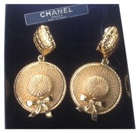Chanel Reduced-Chanel Vintage Dangling Clip On Hat Earrings Made in France (Priced to sell)