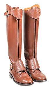 Chanel Leather Stitched Brown Boots