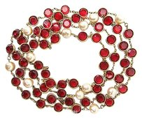 Chanel Ruby Red Crystal and Pearl Gold Plated Necklace Sautoir 58
