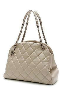 Chanel Quilted Calfskin Satchel in Beige