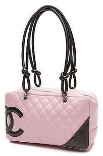 Chanel Quilted Lambskin Satchel in Black, pink