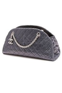 Chanel Quilted Lizard Satchel in Blue