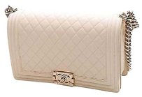 Chanel Ivory Quilted Lambskin Flap Boy Satchel in Ivory (Cream)